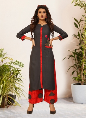 Grey Viscose Embroidered Stitched Straight Palazoo Kurta sets