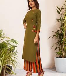 Green Viscose Embroidered Stitched Straight Palazoo Kurta sets