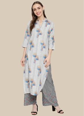 Multicolor Cotton Blend Printed Stitched  Straight Suit Palazoo kurta sets