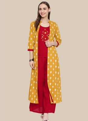 Red Viscose Embroidered Stitched  A Line Style, Jacket Style Palazoo kurta sets