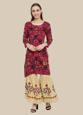 Multicolor Viscose Plain Stitched  Jacket Style, A Line Style Palazoo kurta sets