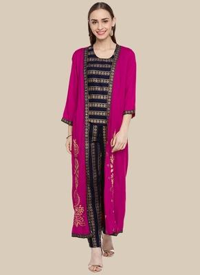 Pink Viscose Printed Stitched  Jacket Style, A Line Style Palazoo kurta sets
