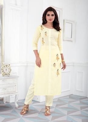 Yellow Cotton Blend Embroidered Stitched  Straight Suit Palazoo kurta sets