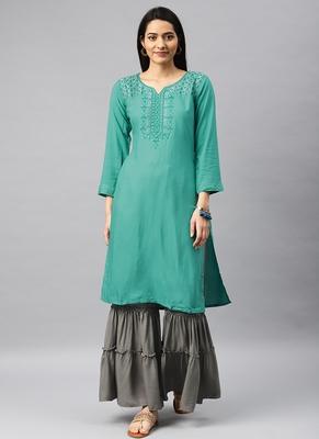 Green & Grey Embroidery Rayon Stitched  Straight Kurta With Sarara Kurta Sets