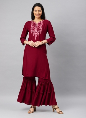 Red Embroidery Rayon Stitched  Straight Kurta With Sarara Kurta Sets