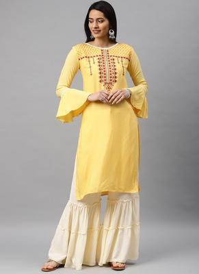 Yellow & Cream Embroidery Rayon Stitched  Straight Kurta With Sarara Kurta Sets