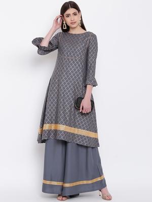 Grey Viscose Printed Stitched straight kurta with palazoo kurta sets