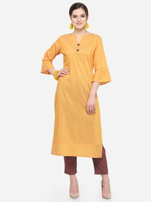 Yellow Cotton Silk Woven With Wood Buttons Straight Stitched kurta
