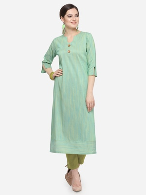 Green Cotton Silk Woven With Wood Buttons Straight Stitched kurta