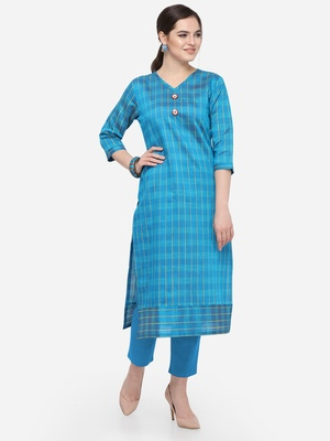 Blue Cotton Silk Woven With Wood Buttons Straight Stitched kurta