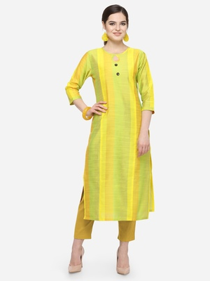 Lime Yellow Cotton Silk Woven With Wood Buttons Straight Stitched kurta