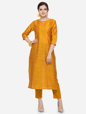 Mustard Cotton Silk Woven With Buttons Straight Stitched kurta