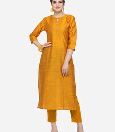 Mustard Cotton Silk Woven With Buttons Straight Stitched kurta