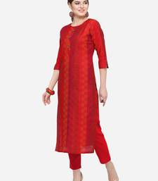 Red Cotton Silk Woven With Wood Buttons Straight Stitched kurta