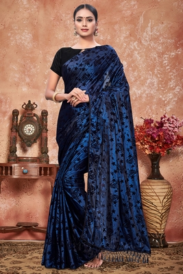 Blue plain silk saree with blouse