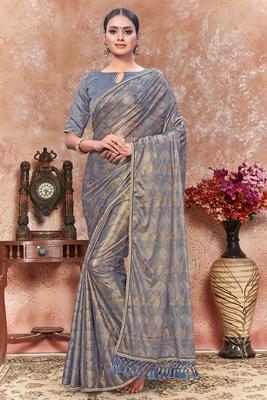 Grey plain silk saree with blouse