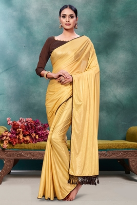 Beige plain silk saree with blouse