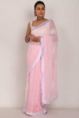 Pink Chikankari Saree with white tassel lase and White Blouse (unstiched)