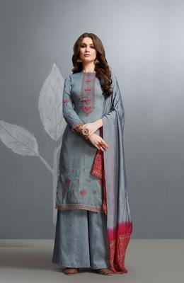 Blue embroidered cotton silk salwar