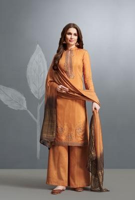 Yellow embroidered cotton silk salwar