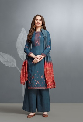 Blue embroidered cotton silk salwar