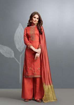 Red embroidered cotton silk salwar
