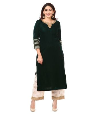 Forest Green Velvet Kurti with Straight Foil Printed Palazzo