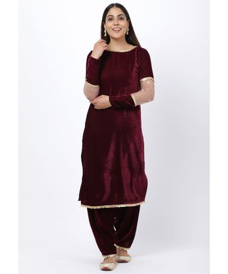 purple Sequenced Sleeves Velvet Kurti with Velvet Salwar