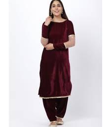 purple Sequenced Sleeves Velvet Kurti with Velvet Salwar