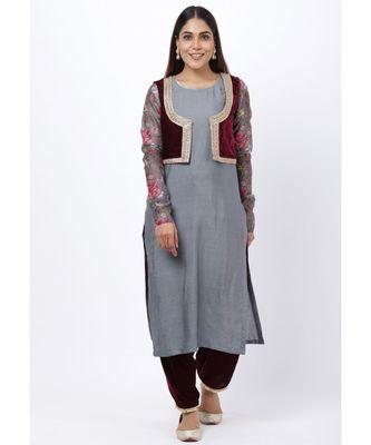 Gray Printed Churidar Sleeves Kurti with Velvet Salwar and Velvet Jacket