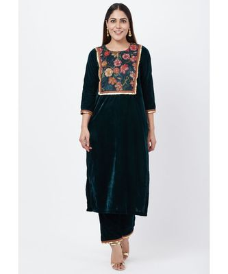Green Floral Printed Velvet Kurti with Straight Palazzo