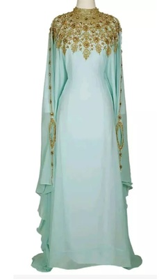 SEA GREEN ZARI WORK STONES & BEADS EMBELLISH GEORGETTE ISLAMIC STYLE ARABIAN MAXI PARTYWEAR KAFTAN