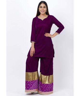 My Purple Short Velvet Kurti with Kalidaar Bandhani Palazzo