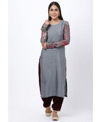 Gray Printed Churidar Sleeves Kurti with Velvet Salwar
