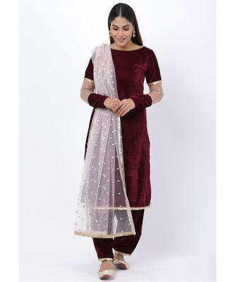 purple Sequenced Sleeves Velvet Kurti with Salwar and Blush Pink Dupatta