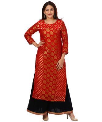 Red Melange Georgette Banarsi Kurti and Navy Blue Velvet Kalidar Palazzo