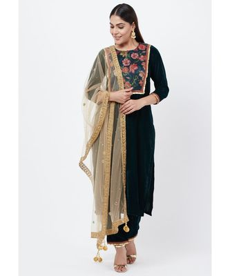 Green Floral Printed Velvet Kurti with Straight Palazzo and Mirror Stone Dupatta