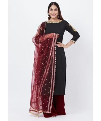 Classic Black Paisley Embroidered Kurti with Kalidaar Velvet Palazzo and Sequenced Dupatta