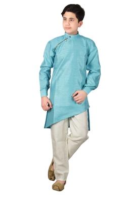 Turquoise plain cotton silk boys-kurta-pyjama