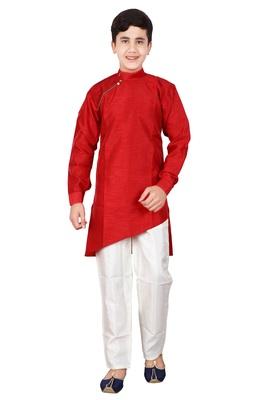 Maroon plain cotton silk boys-kurta-pyjama