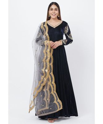 Navy Blue Velvet Floor Length Anarkali with Embroidered Sleeves and Sequenced Dupatta