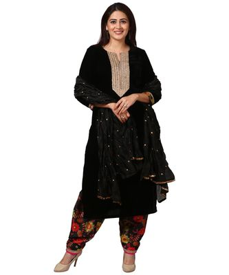 Black Gold Velvet Kurti with Floral Printed Salwar and Black Crushed Dupatta