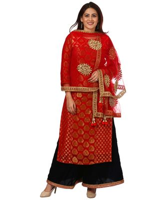 Red Melange Georgette Banarsi Kurti with Velvet Palazzo and Red Net Mirror Dupatta