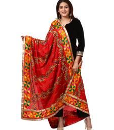 Festive Black Straight Velvet Kurti with Straight Pants and Red Trails Floral Phulkari Dupatta