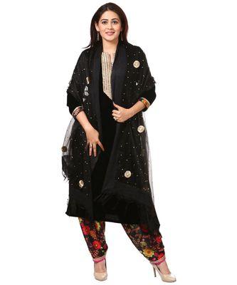 Black Gold Velvet Kurti with Floral Printed Salwar and Black Gotta Flower Organza Dupatta