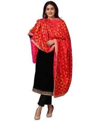 Festive Black Straight Velvet Kurti with Straight Pants and Orange Magenta Triangle Phulkari Dupatta