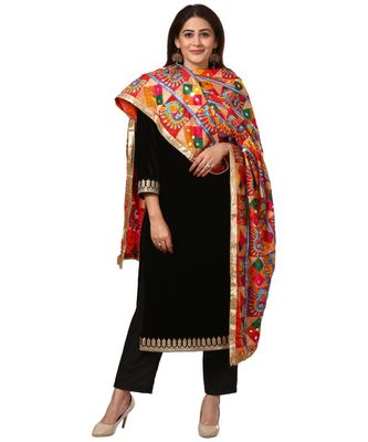 Festive Black Straight Velvet Kurti with Straight Pants and Peacock Diamond Colorful Phulkari Dupatta