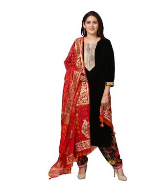 Black Gold Velvet Kurti with Floral Printed Salwar and Magenta Orange Tie and Dye Paisley Foil Dupatta