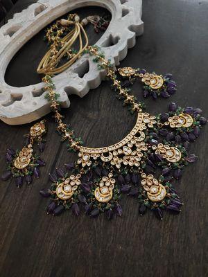 Purple Green Gold Tone Kundan Inspired Necklace