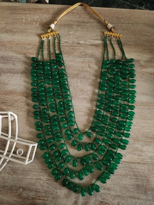Green Beads Layered Necklace